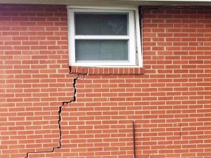 brick crack in home with severe foundation settling