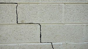 basement cement block wall crack