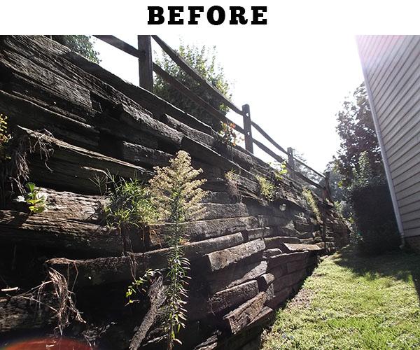 Railroad Tie Retaining Walls Repair Or Replace Piedmont Foundation Repair 704 401 4111 Foundation Repair Charlotte Nc